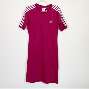 Adidas Maroon 3 Stripes T-Shirt Dress